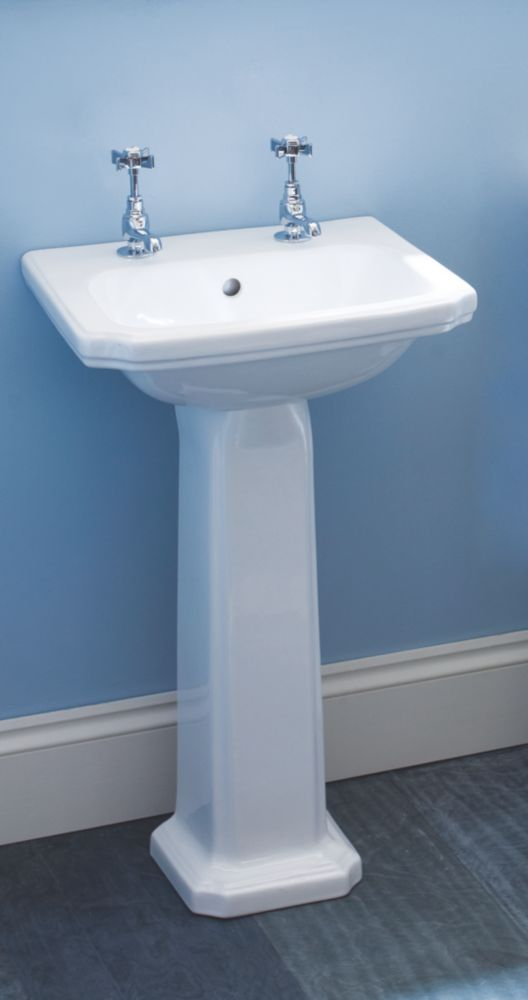 Dartmouth Full Pedestal Cloakroom Basin 2 Tap Holes 480mm