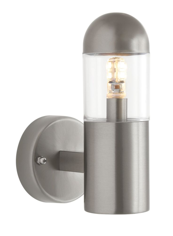 Sigma Brushed Stainless Steel Outdoor Wall LED Light 200lm 2.7W LED Wall Lights Screwfix.com