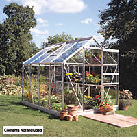 Halls Popular Greenhouse Aluminium Toughened Glass 6' x 10'