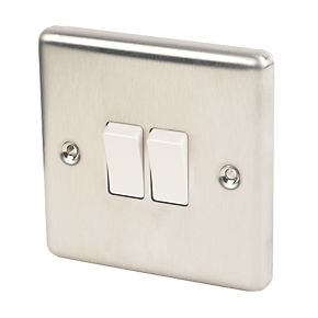 Lap 2 Gang 2 Way 10ax Light Switch Brushed Stainless Steel