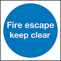 """Fire Escape Keep Clear"" Sign 100 x 100mm"