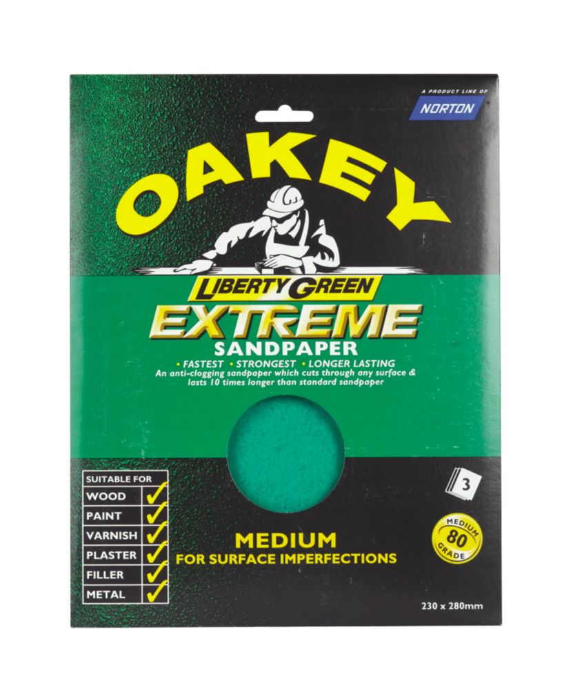 Oakey Liberty Green Extreme Sandpaper Med Pack of 8