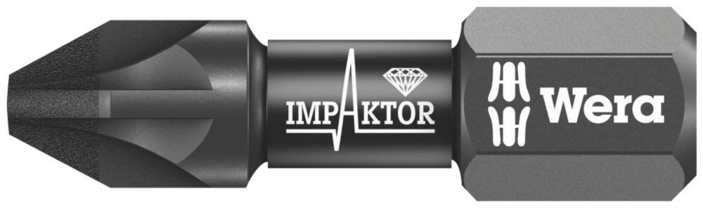 "Wera IMP DC Impaktor Diamond Screwdriver Bit PZ2 ¼"" x 25mm"