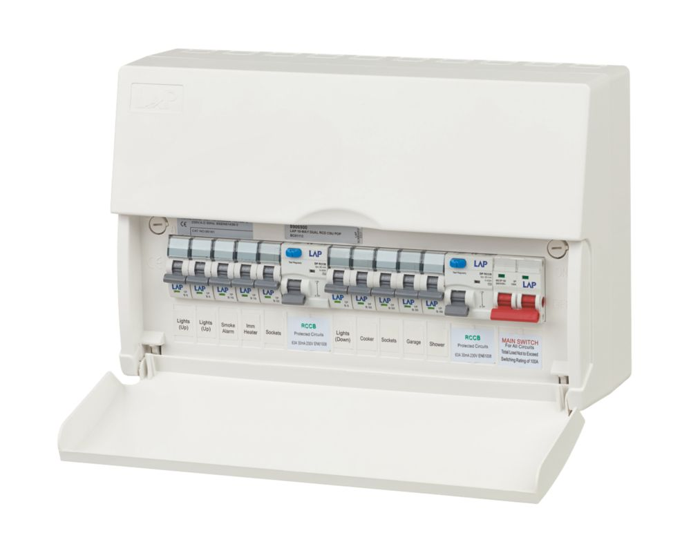 LAP 10-Way Fully Populated Consumer Unit Dual 63A RCD