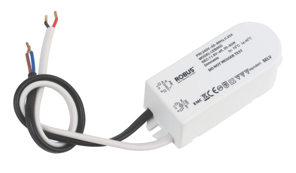 Robus LT60D 20-60W Electronic Transformer 12V