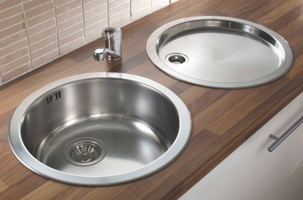 Pyramis Stainless Steel Reversible Round Bowl Kitchen Sink & Tap Pack