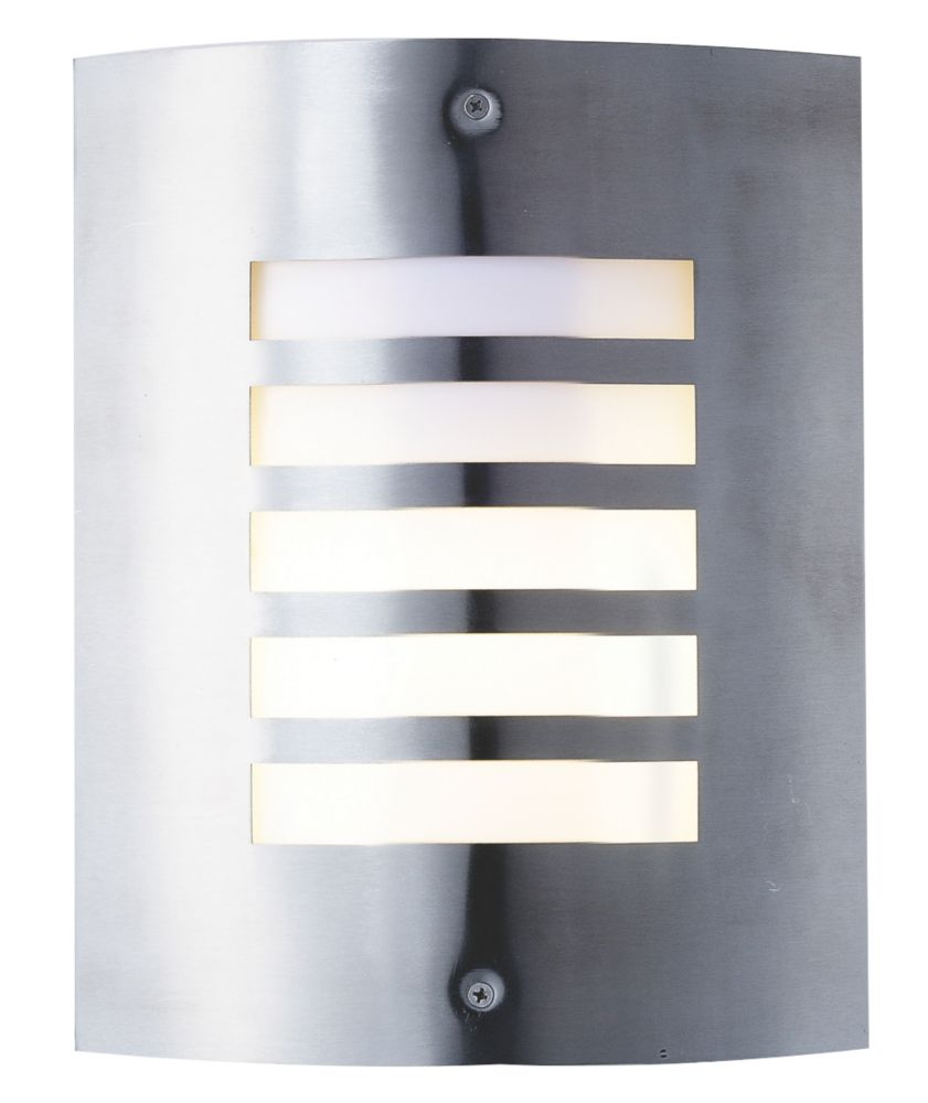 Screwfix Outdoor Wall Lights : New York Brushed Stainless Steel Wall Light 60W Outdoor Wall Lights Screwfix.com