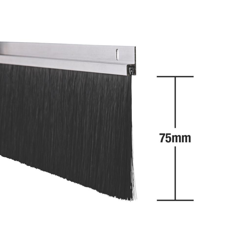 Stormguard Industrial Door Brush Seal Aluminium Effect 1250mm Pack of 2
