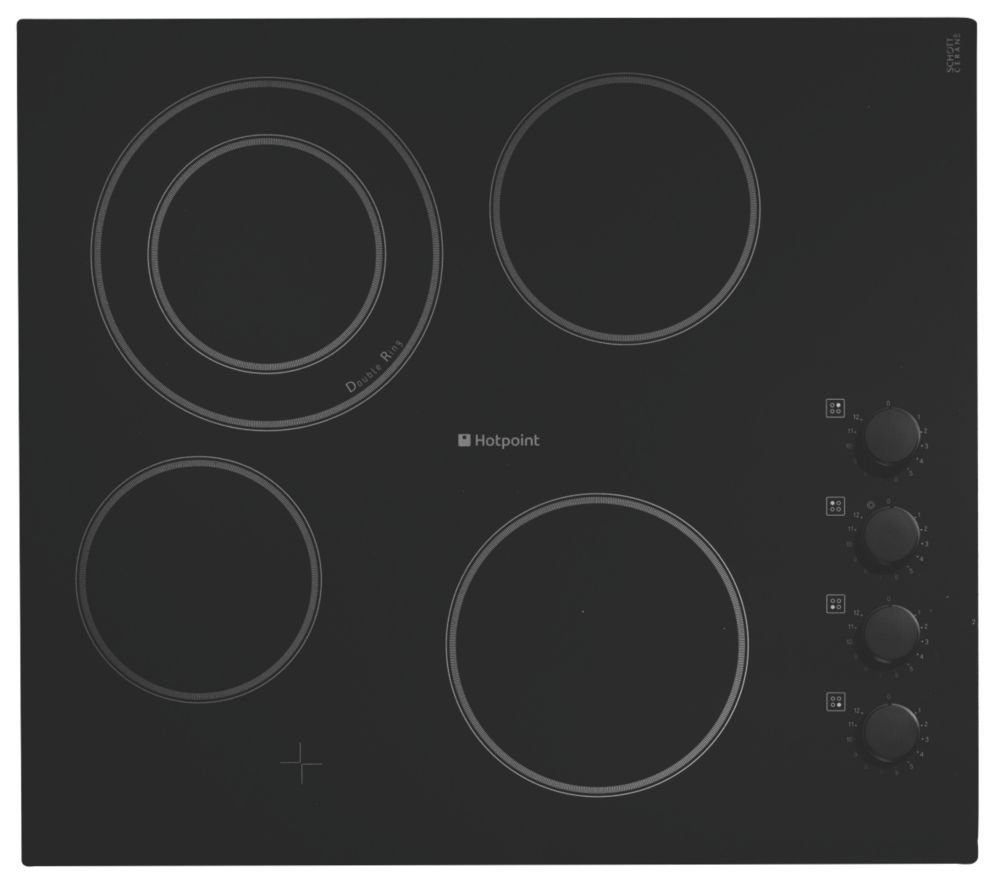 Hotpoint CRM 641DC Built-In 4-Plate Ceramic Hob Black Glass 520 x 590mm