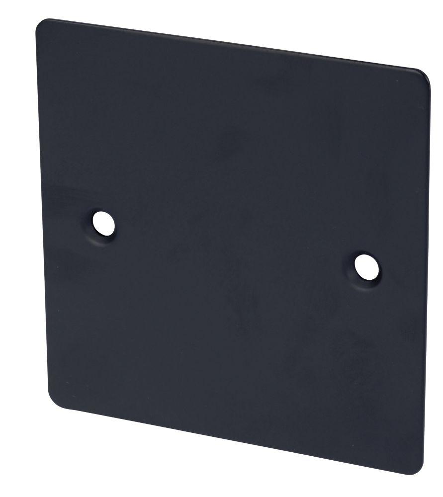 Volex 1-Gang Blank Plate Matt Black Flat Plate