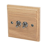 Varilight 10A SP 2-Gang 1/2-Way Toggle Switch Classic Oak