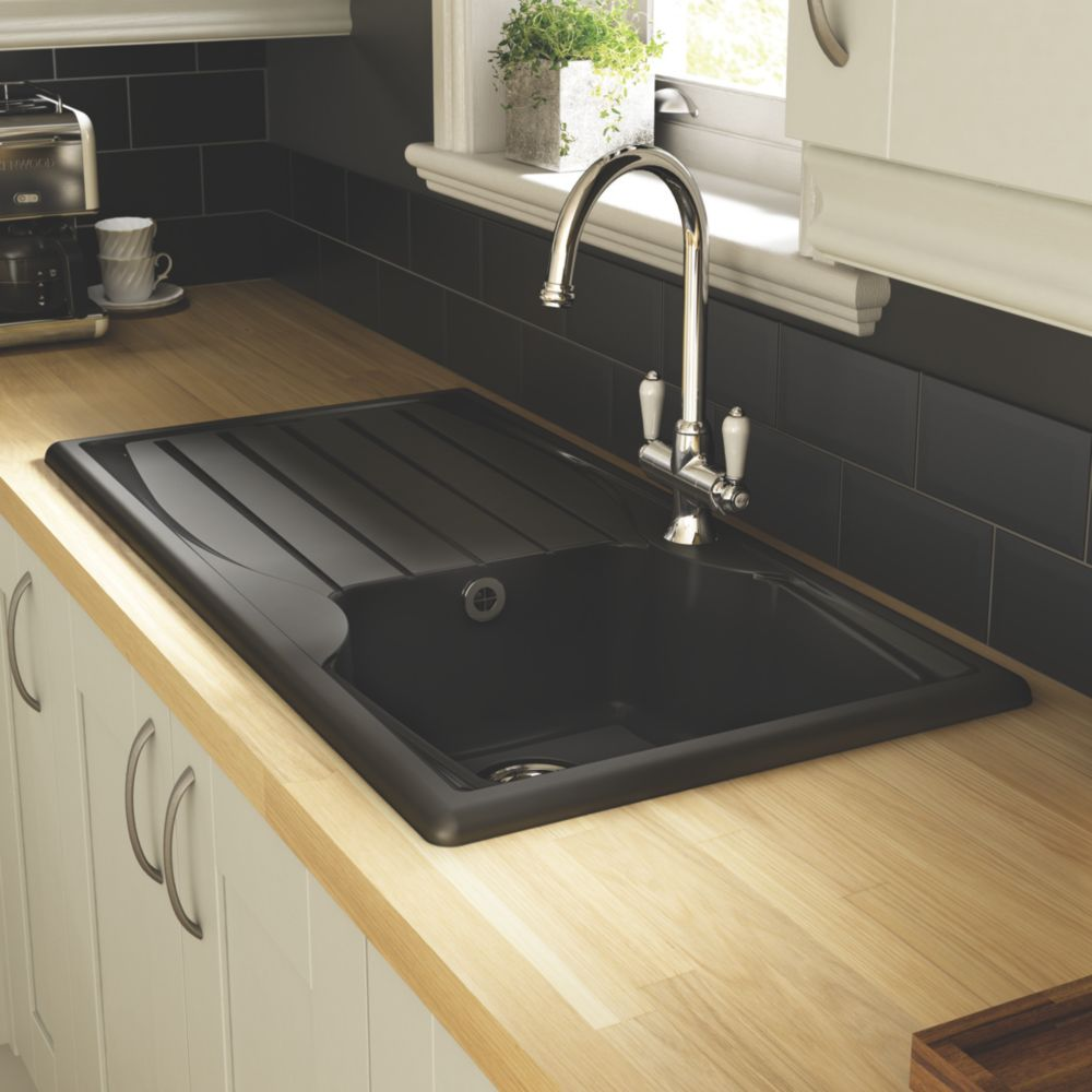 Astracast Teflite Reversible 1 Bowl Inset Kitchen Sink with Drainer Black