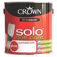 Crown Solo One-Coat Gloss Paint Pure Brilliant White 2.5Ltr