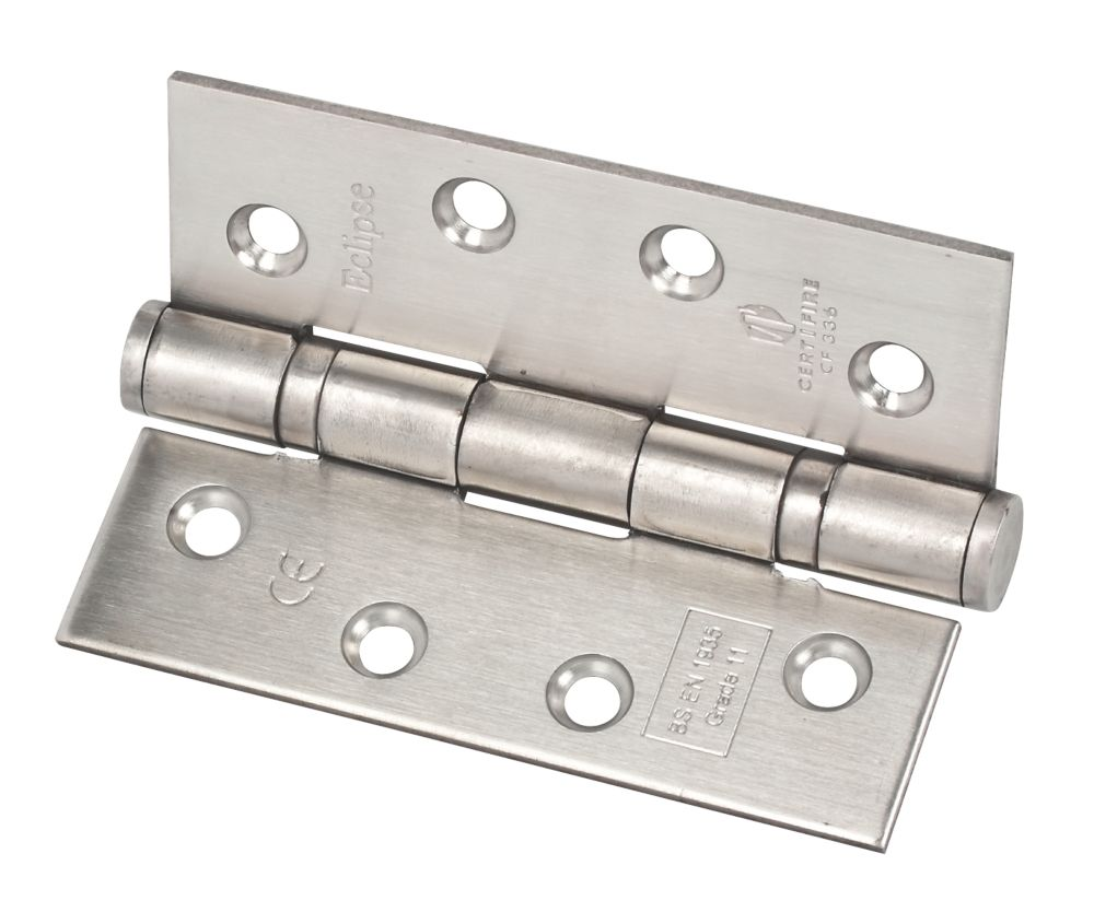 Fire Door Hinge 102 x 76 x 3mm Grade 11 Satin Stainless Steel Pack of 2