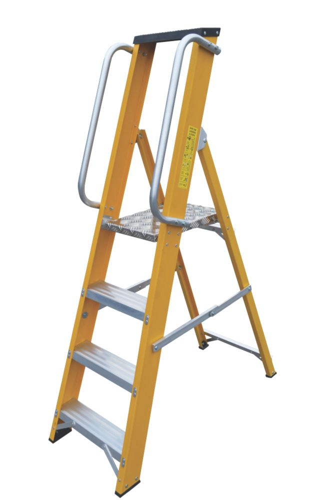 Lyte Platform Ladder with Safety Handrails 4-Tread 1.44m