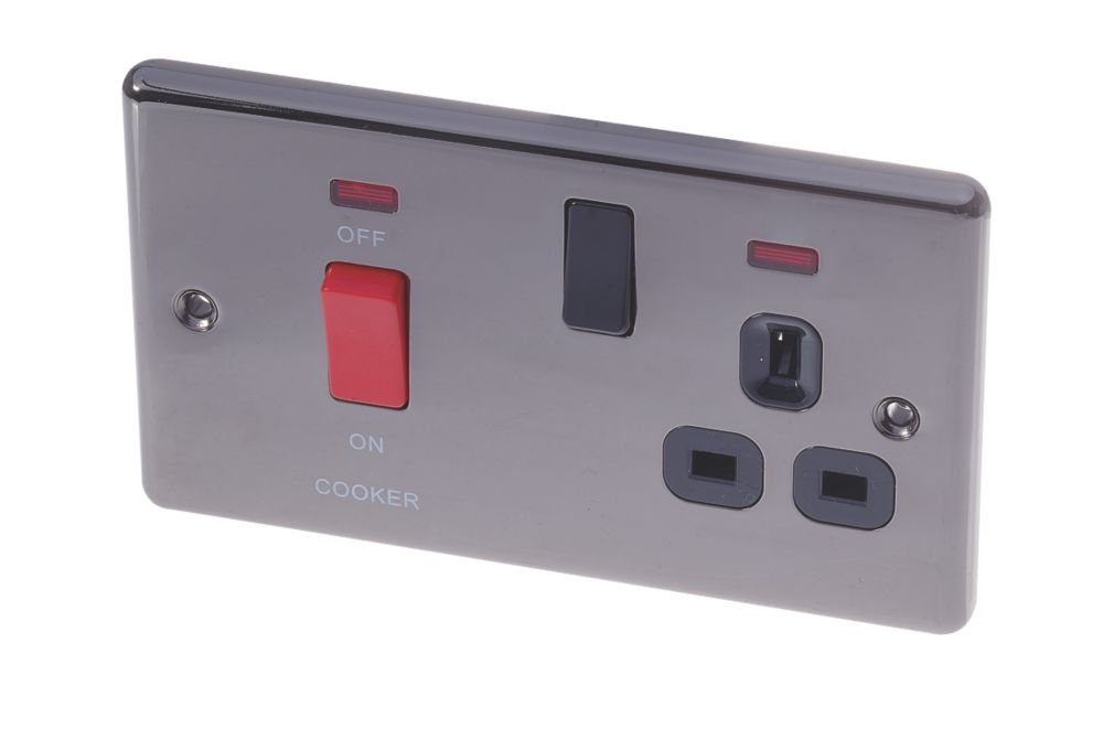 LAP 2-Gang 45A DP Cooker Switch & 13A Plug Socket w/ Neon Black Nickel