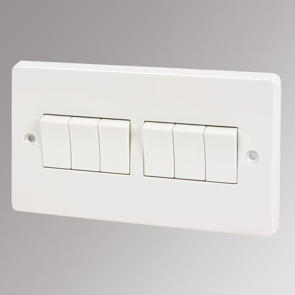 Crabtree 10AX 6-Gang 2-Way Switch