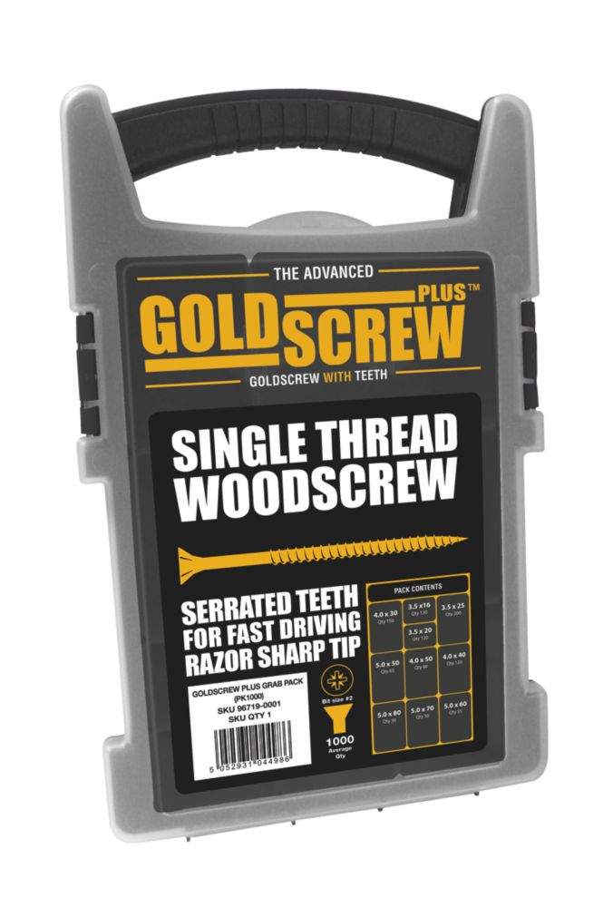 Goldscrew Plus Woodscrews Trade Grab Pack 1000 Pieces