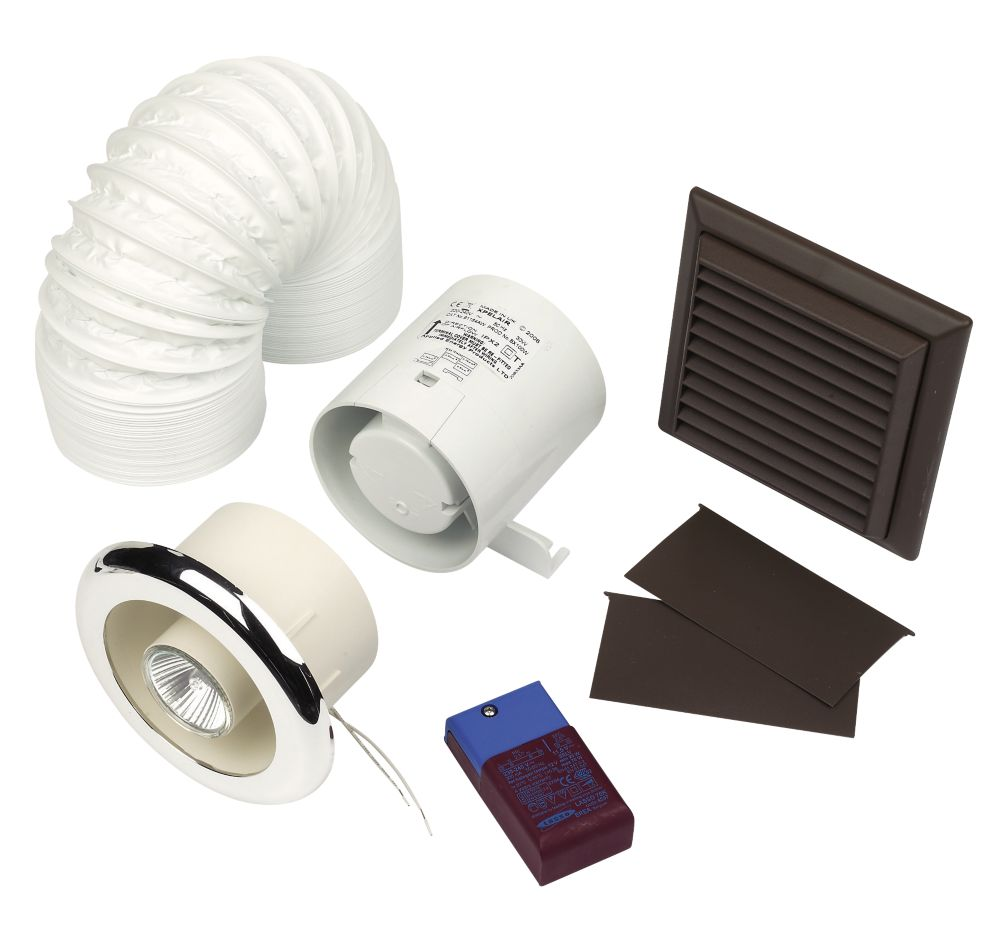 Xpelair Britex In-Line Chrome 30W Shower Fan Kit