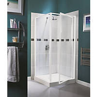 Aqualux White Pivot Shower Enclosure Door 760 x 1850mm