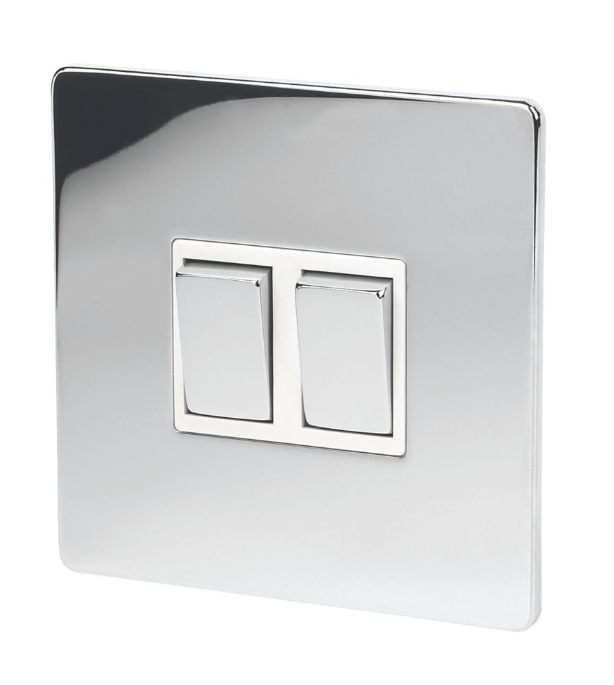 LAP 2-Gang 2-Way 10AX Light Switch Polished Chrome