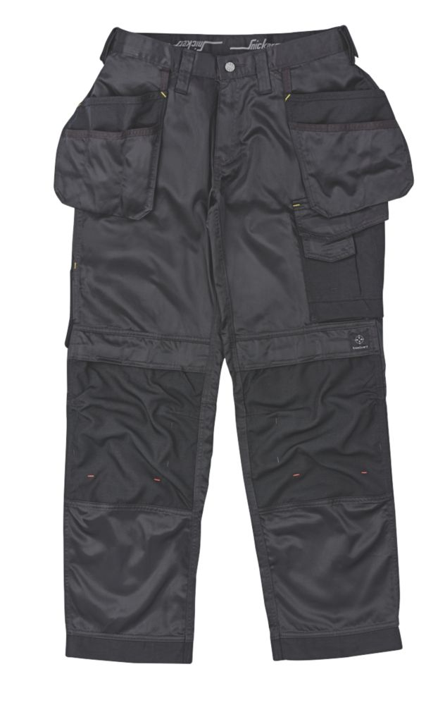 "Snickers DuraTwill Trousers with Holster Pockets Black 38"" W 32"" L"