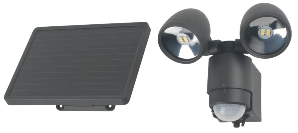 Solar Powered LED Floodlight with PIR 6W Granite Grey