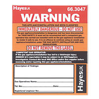 "Hayes UK ""Warning Immediately Dangerous"" Labels Pack of 10"