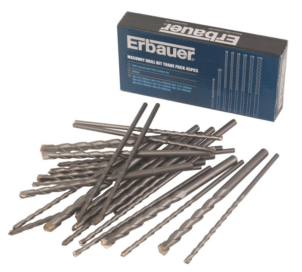 Erbauer Masonry Drill Bit Trade Pack 45Pcs