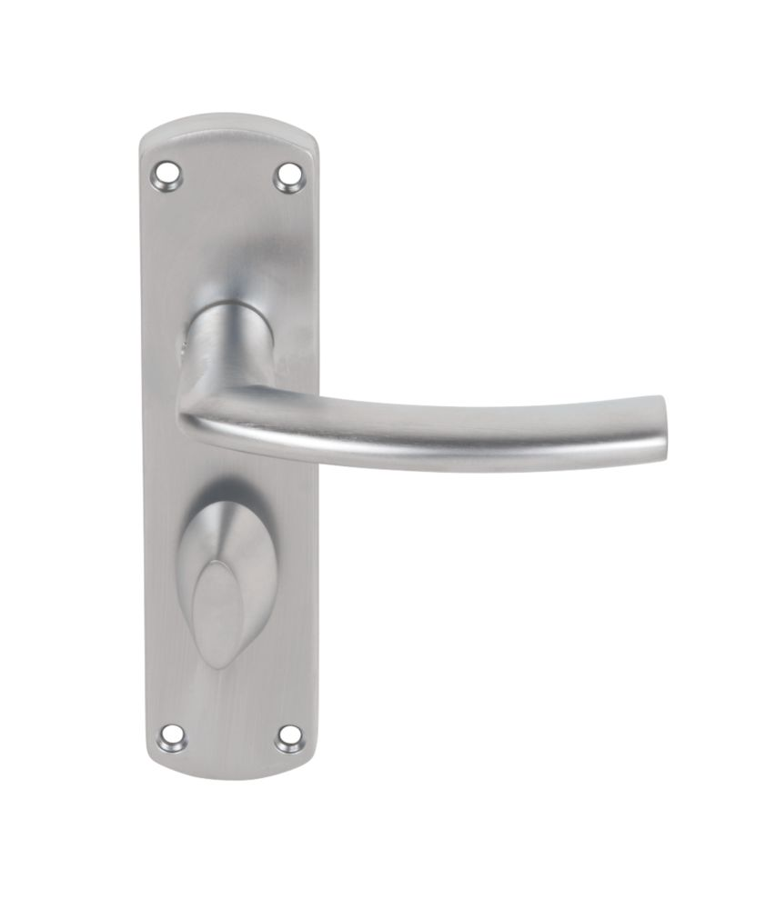 Serozzetta Dos Lever on Backplate WC Door Handles Pair Satin Chrome