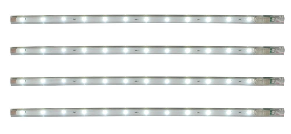 Avi Cabinet Striplight 300mm 12 x 0.05W LEDs White Pack of 4