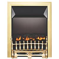 Focal Point Blenheim Brass Rotary Control Gas Inset Flueless Fire