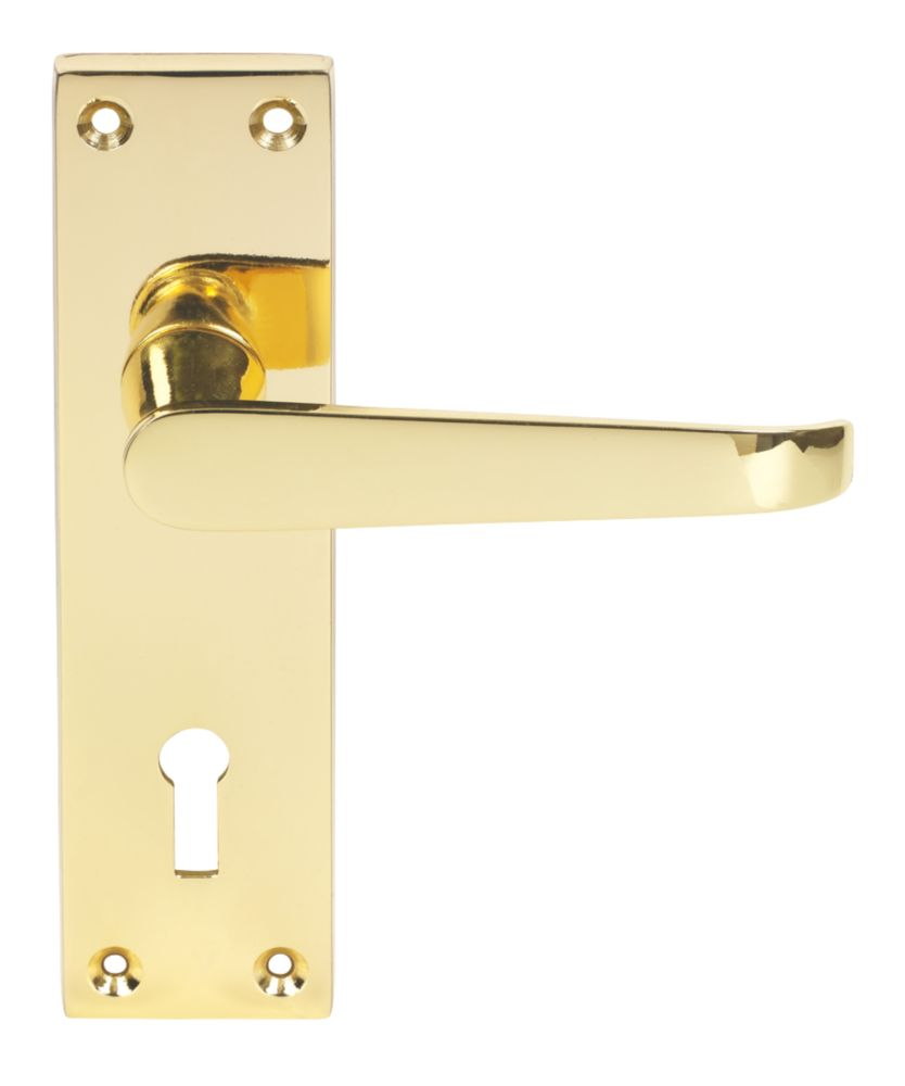 Victorian Long Backplate Straight Lock Door Handles Pair Brass Effect