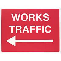 """Works Traffic"" Left Arrow Sign 450 x 600mm"