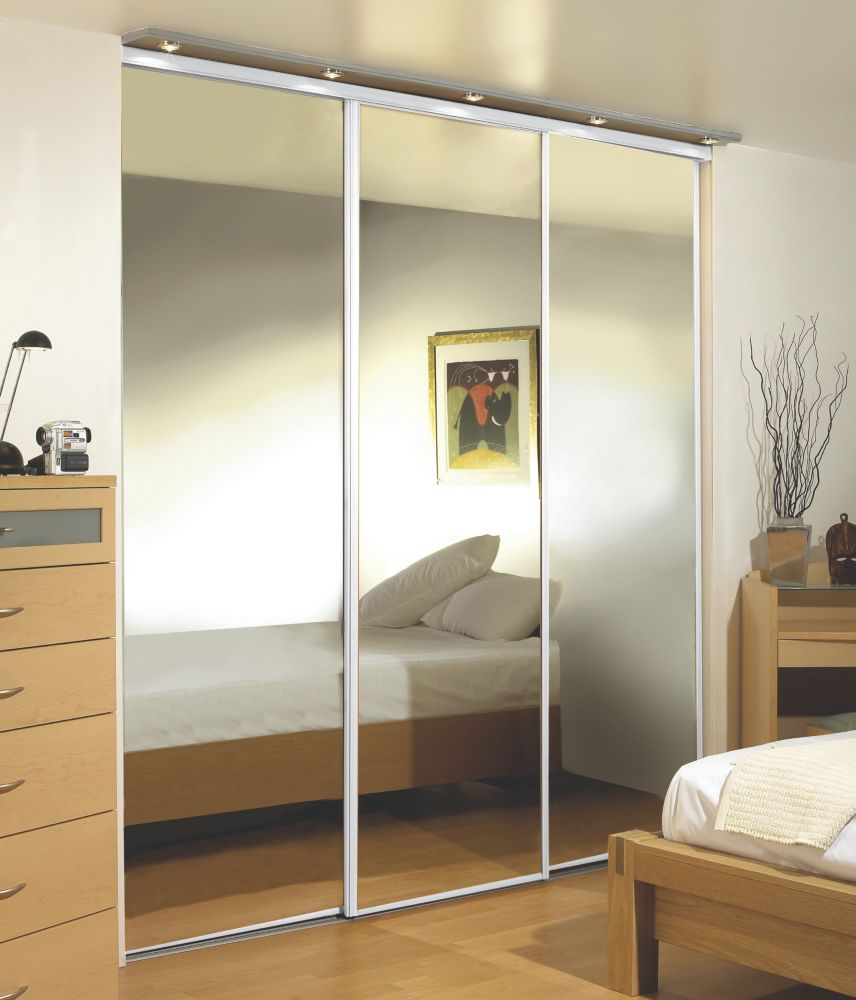 Sliding Wardrobe Doors White Frame Mirror Panel 3-Door 2210 x 2330mm