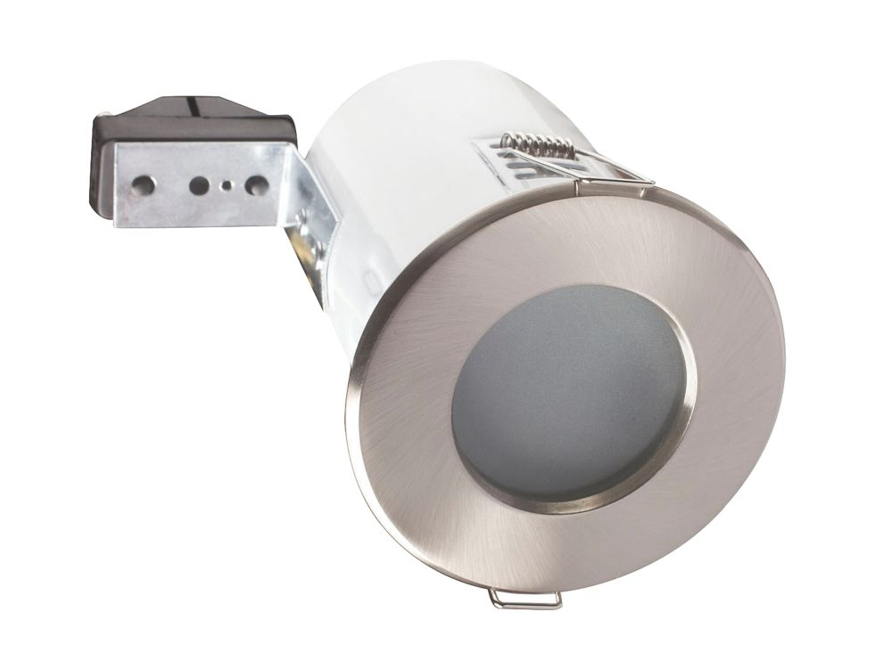 Robus Fixed Round Mains Voltage Fire Rated Downlight Br. Chrome IP65 240V