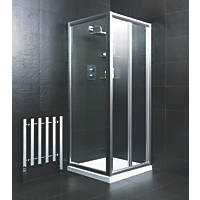 Moretti  Square Bi-Fold Shower Enclosure  Silver 760 x 740 x 1850mm