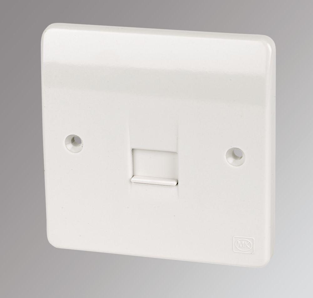 MK 1-Gang Slave Telephone Socket White