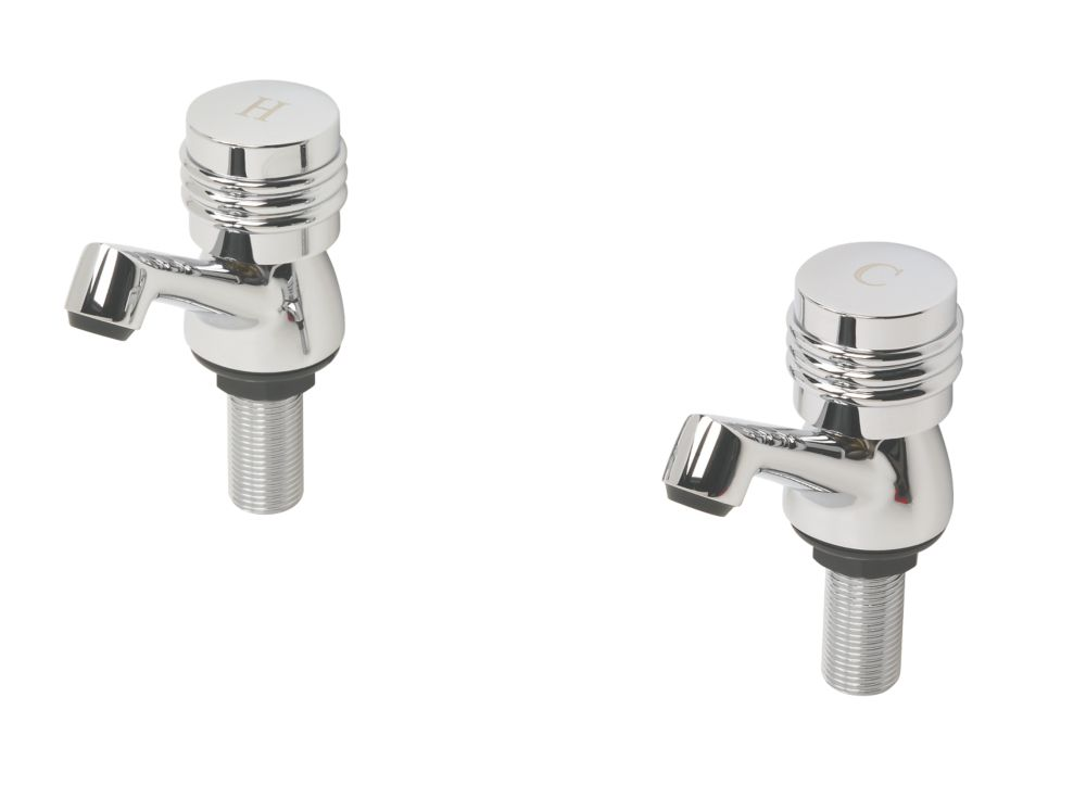 Swirl Magellan Bathroom Basin Taps Chrome-Plated Pair