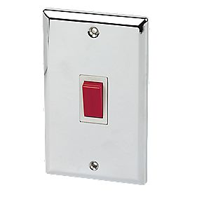 Volex 45A Cooker Switch 2-Gang Plate Wht Ins PC Angled