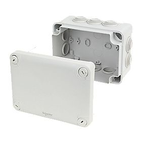 10 Terminal Junction Box with Knockouts Grey 125 x 165 x 80mm