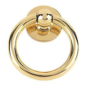 Plain Ring Door Knocker Polished Brass