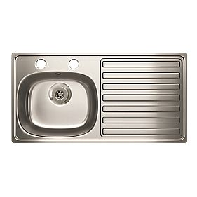 Carron Phoenix Kitchen Sink S/Steel 1 Bowl & Right Hand Drainer 940 x 180mm