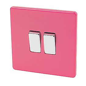 Varilight 2-Gang 2-Way 10A Switch Cerise Pink