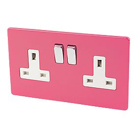 Varilight 2-Gang 13A DP Switched Socket Cerise Pink