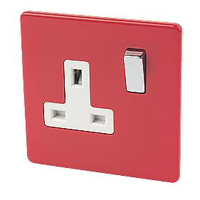Varilight 1-Gang 13A DP Switched Socket Claret Red