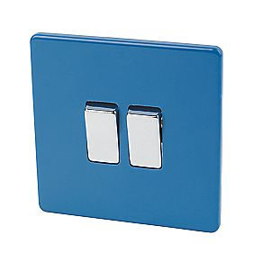 Varilight 2-Gang 2-Way 10A Switch Cobalt Blue