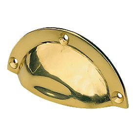 Shell Drawer Pull 90mm Polished Brass