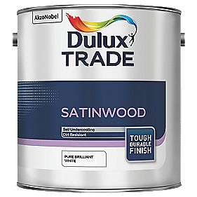 Dulux Trade Trade Satinwood Gloss Paint Pure Brilliant White 2.5Ltr