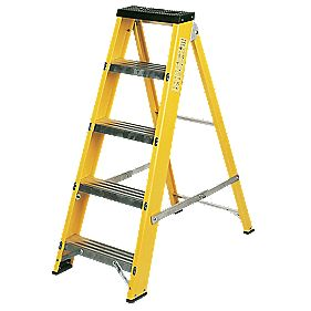 Lyte GFBB5 Swingback Builders Step Ladder Fibreglass 5-Tread 1.03m